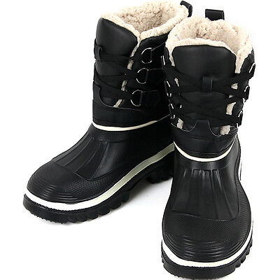 New Lace Up Mens Winter Snow Warm Black Waterproof Light Boots Shoes