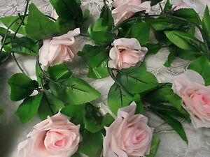 Rosengirlande Girlande Rosen Hell Rosa 230 Cm Deko Hochzeit