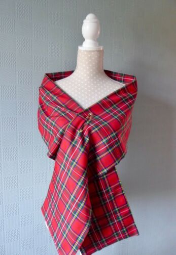 Red tartan scarf 70/'s concert scarf Bay City Rollers Royal Stewart Tartan plaid