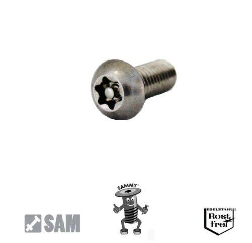10 Stück M5X50 Linsenkopf Sicherheitsschraube Torx+Pin rostfrei A2