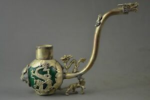Collectible Decorated Handwork Tibet Silver Carved Dragon Smoking Pipe