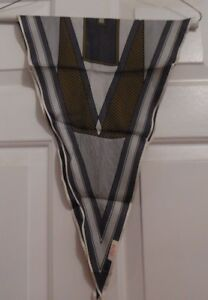 TERRIART-Mini-Long-Pointed-Ends-Gray-Graphic-41x13-Lg-Scarf-Vintage-ECHO