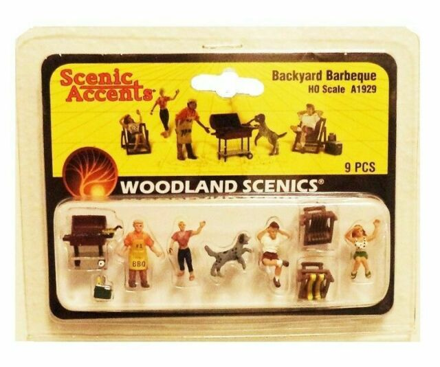 6 Woodland Scenics A1929 HO Family Backyard Barbeque Set