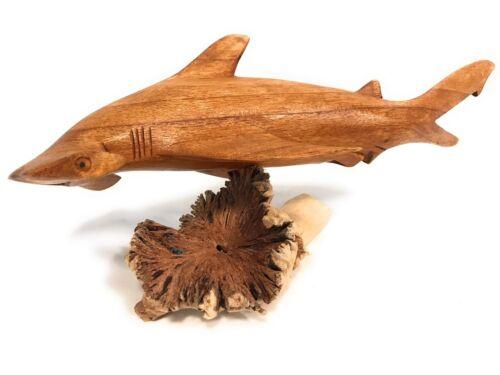 """Hammerhead Shark on Driftwood Base 12/"""" Carved#jro03A"""