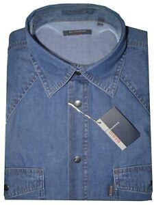 CAMICIA-UOMO-Jeans-manica-lunga-taschini-M-L-XL-XXL-XXXL-100-COTONE-denim-blu