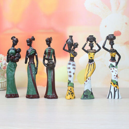 African Figures Sculpture Tribal Lady Beauty Figurine Statue Tabletop Yellow