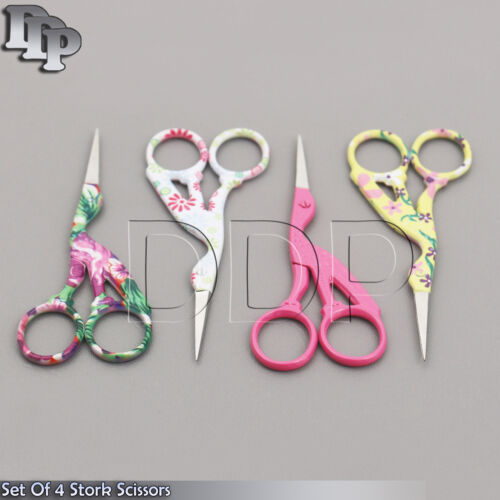 "4 Pairs 4.5/"" Stainless Steel Sharp Classic Stork Scissors Color Coded BTS-155"