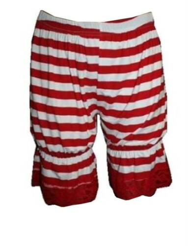 NEW RED /& WHITE STRIPE GIRL SHORT BLOOMERS PANTS SHORTS FANCY DRESS OUTFIT