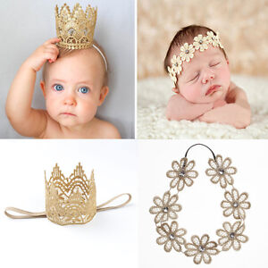 Newborn Baby Girls Infant Toddler Cute Crown Flower Headband Hair ... b80973bd5b29