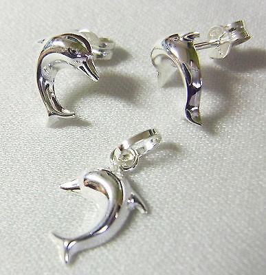 925 Silber Set * Ohrstecker & Anhänger * DELFIN * Silberschmuck Silberanhänger