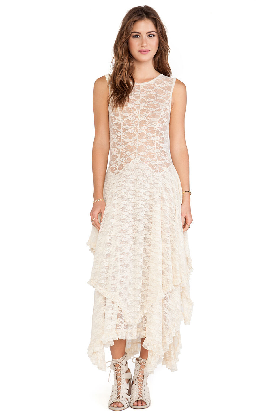NWT  Free People French Courtship Lace Dress Tea (Ivory)