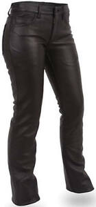 NEW WOMENS LEATHER MOTORCYCLE JEANS PANTS GREAT COMFORT FIT 5 POCKET DESIGN.10
