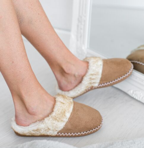 WOMENS LADIES WARM MULES FLEECE LINED COMFY COTTON FLUFFY SLIP ON SLIPPERS CLOGS
