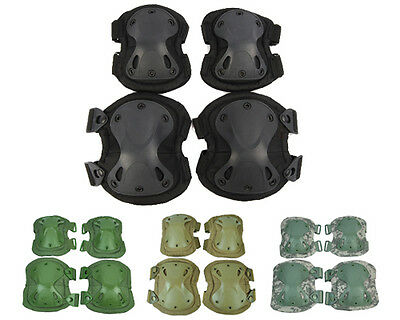 Tactical Military Adjustable Knee&Elbow Pads Airsoft Outdoor Protective Gear Set