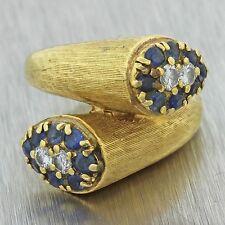 1960s Vintage Estate 18k Solid Yellow Gold .80ctw Sapphire .25ctw Diamond Ring