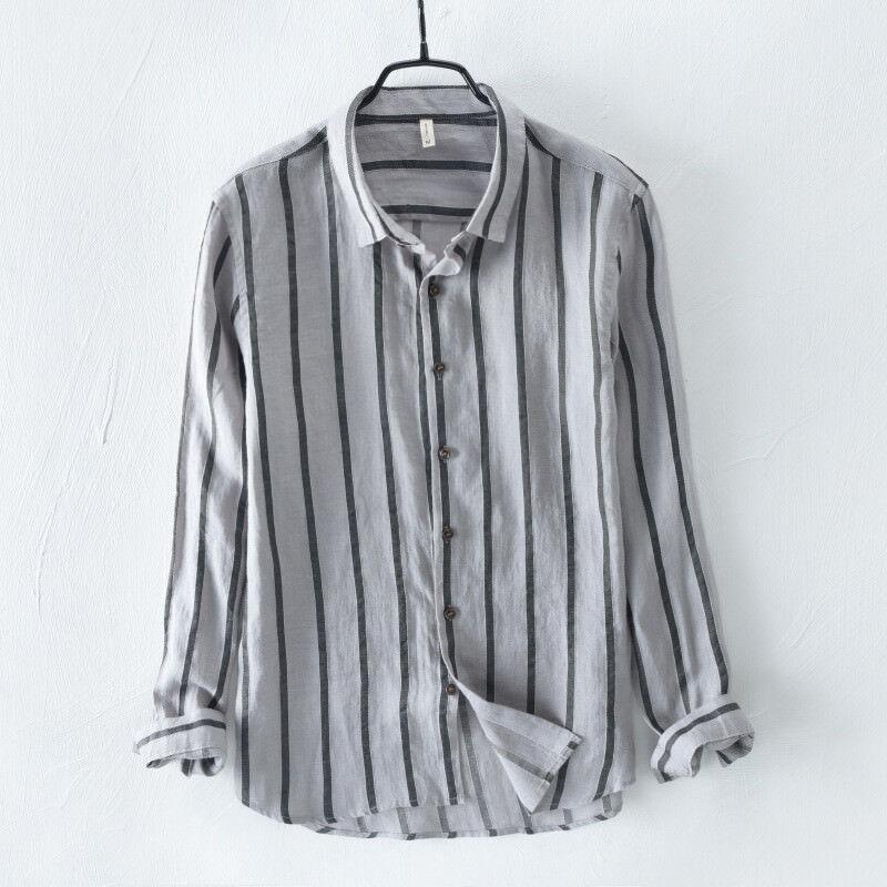 Uomo 100% Linen Slim Fit Dress Loose Long Male Sleeve Comfort Shirt Striped Male Long Tops 03766d