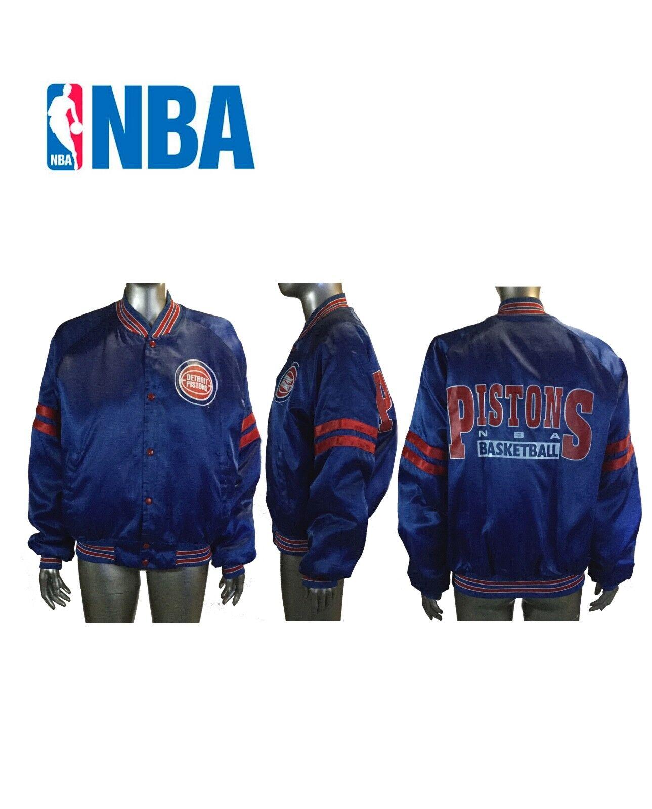 Chalk Line Detroit Pistons Satin Jacke Retro Vintage Rot Weiß Blau NBA