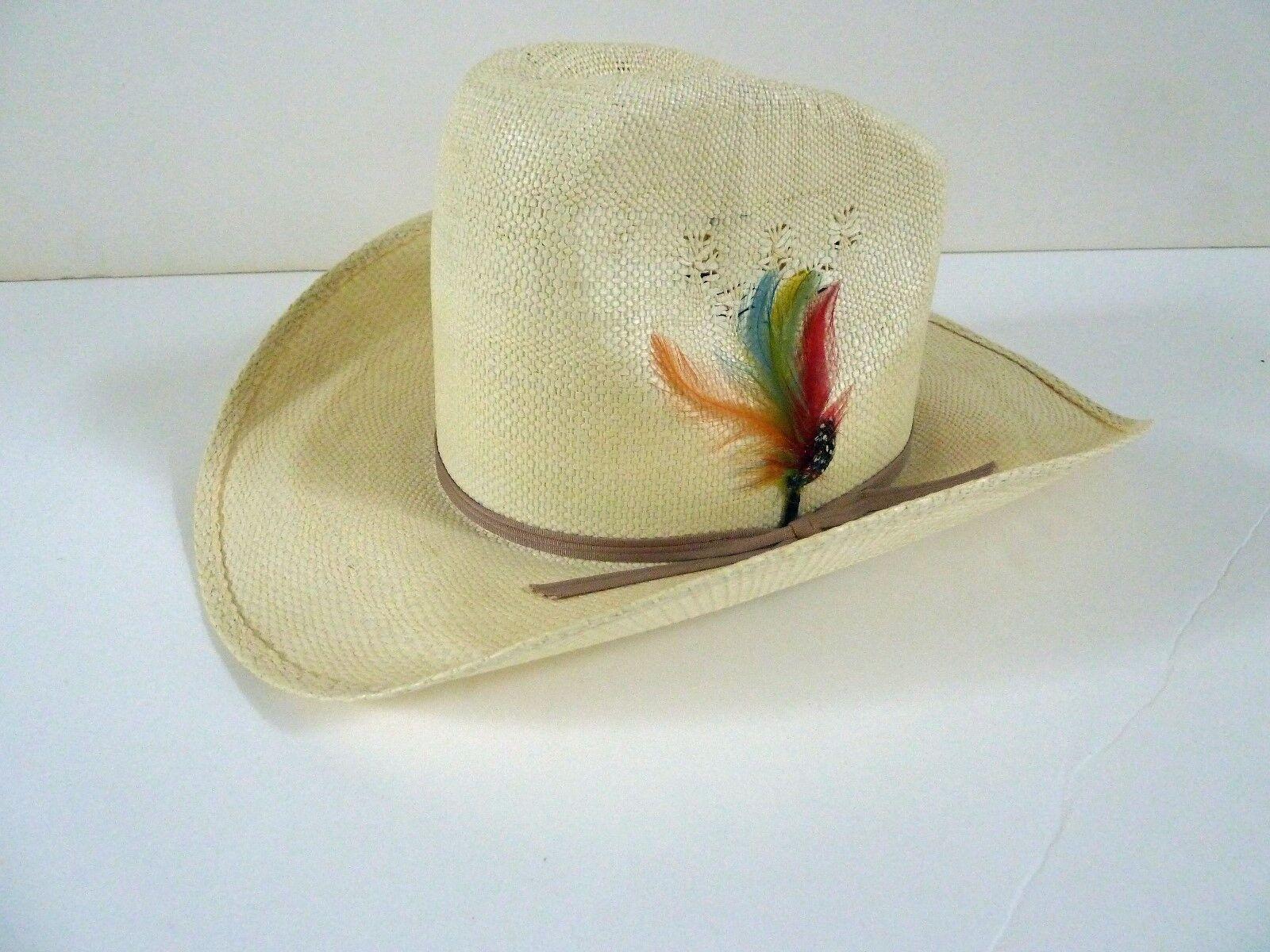 Eddy Bros Straw Hat Cowboy Western Hut Größe 7 - Vintage - Ausgezeichnete Zustand
