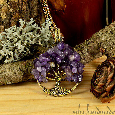 Amethyst Crystals Tree Of Life Necklace Antiqued Brass Wire Wrapped mba handmade