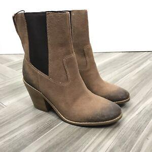 Cole-Haan-Womens-Ankle-Boots-Size-7B-Brown-Waterproof-Distressed-Block-Heels