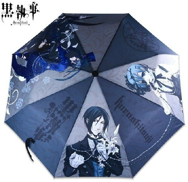 Black Butler Kuroshitsuji Ciel Sebastian Anime Manga-style Foldable Umbrella hot