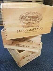 3 x italian wooden wine crates boxes - vintage shabby chic drawers