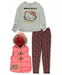 1f0c9ae57 Hello Kitty Toddler Girls Coral Vest 3pc Set Size 2T 3T 4T  54