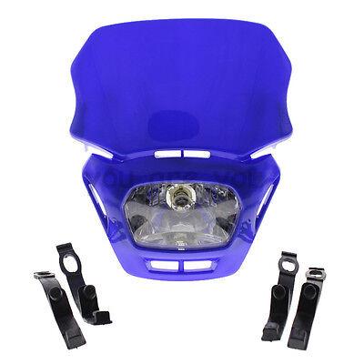 Blue H4 Headlight Motorcycle Dual Sport Dirt Bike Street Fighter For BMW Triumph