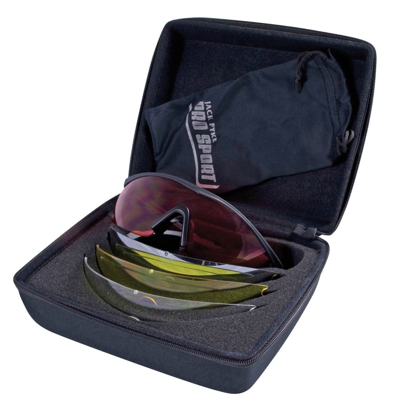 Pro Sport GP Shooting Glasses 4 Interchangeable Lenses Red Clear Yellow Smoke