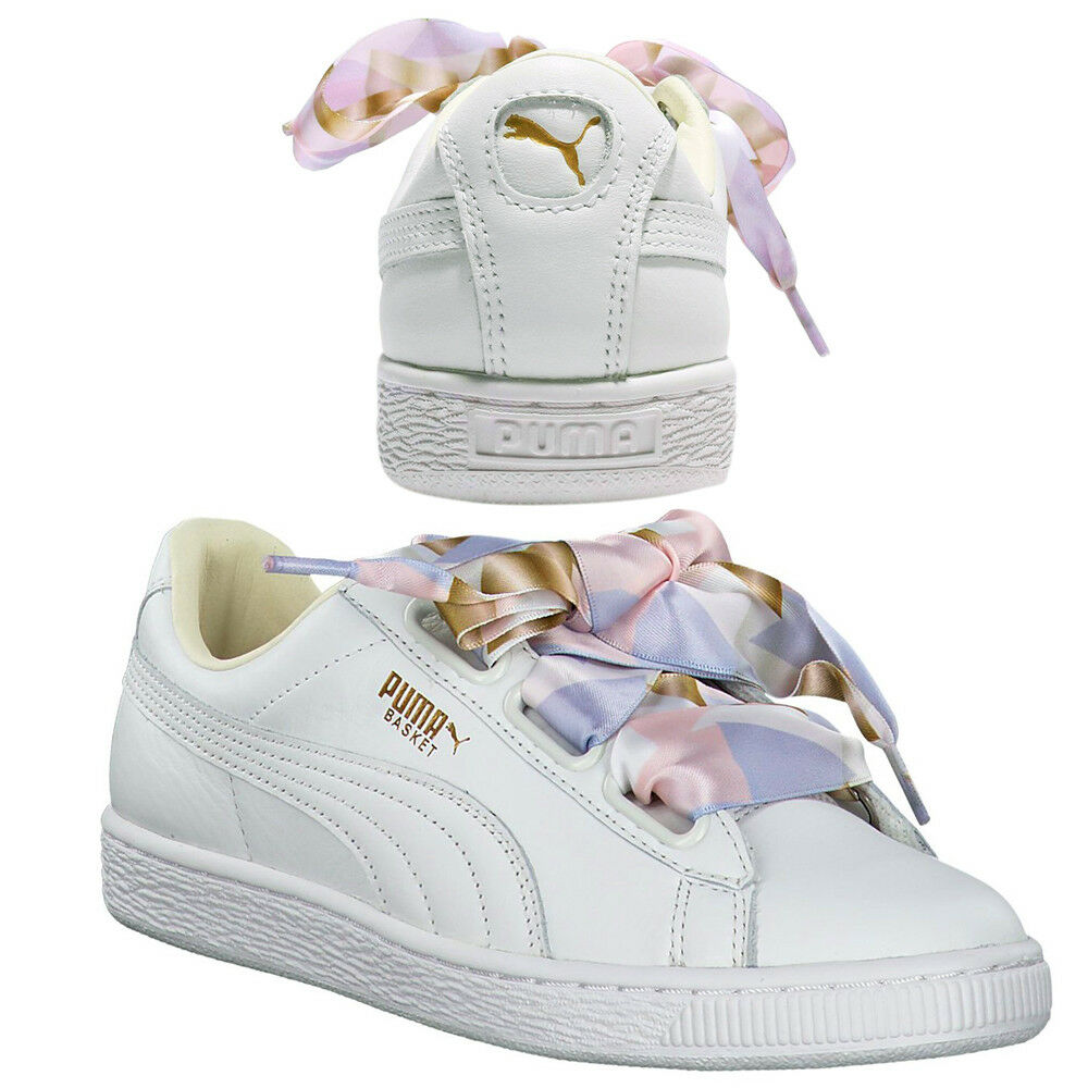 Puma Basket Heart Geo Camo Womens Trainers Lace Up Shoe White 365673 01 B71