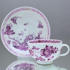 Meissen-um-1750-Teetasse-Chinesisches-Fels-Ast-Blueten-Muster-Purpur-Tasse-cup