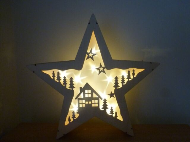 Gisela Graham Wooden Light Up Christmas Star With House And Trees