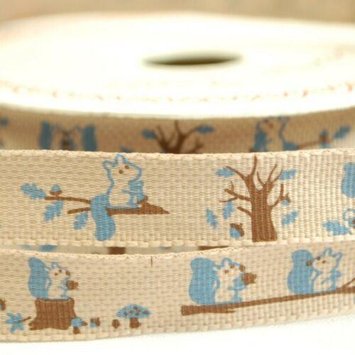 15 mm Bertie/'s Bows Forêt Amis M écureuil Craft Ribbon