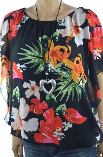 Italy coloré mousseline tunique hawaii fleurs chauve-souris chemisier 42 44 46 NOUVEAU