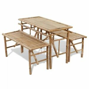 Details about vidaXL Picnic Table Bench Set 3 Pieces Bamboo Folding Beer  Garden Furniture