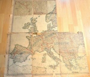 Karte Von Europa 1914.Details Zu Antiquarian Map Of Europe Russia 1914 Fragments Of The Map