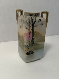 Vintage-Nippon-Hand-Painted-Vase-Unique-Shape-And-Design