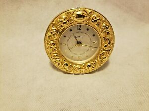 Vintage-Seth-Thomas-Wind-Up-Travel-Alarm-Clock-Gold-Tone-Made-in-Germany