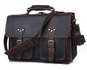 fc0338a815 Polare 16   Full Grain Leather Briefcase Messenger Bag Laptop ...