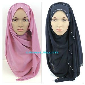 5df2811f7de Chiffon Maxi Hijab Scarf Shawl Wrap Islam Muslim Headcover Rhinestones  180x70cm