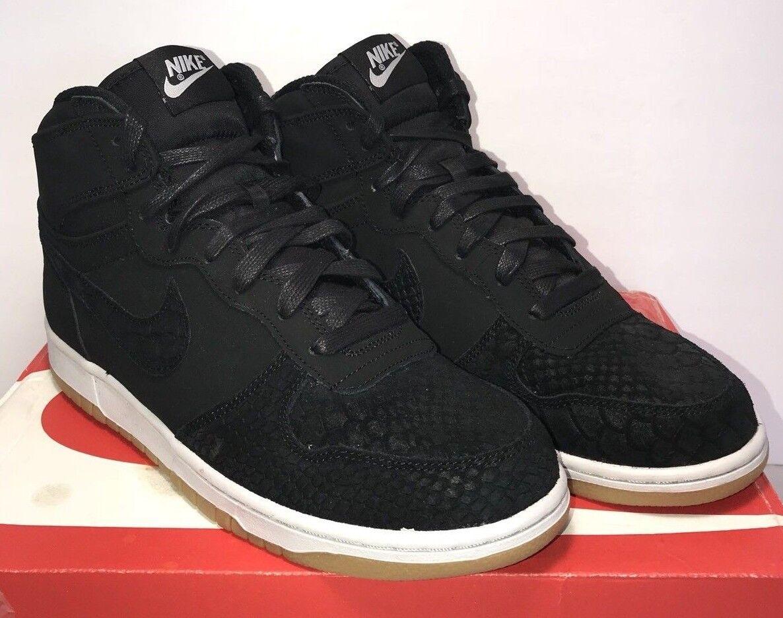 Nike Mens Size 8.5 Big Nike High Lux Black Pure Platinum Retro Gum Suede shoes