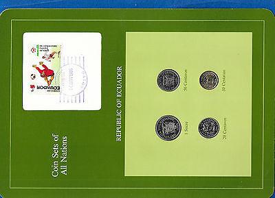 Coin Sets of All Nations Ecuador w//card 1946-1985 10 centavos 1946 20c 1981