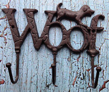 Cast Iron Dog Wall Hook Key Holder Leash Holder Woof Sign with 3 hooks Pet Decor