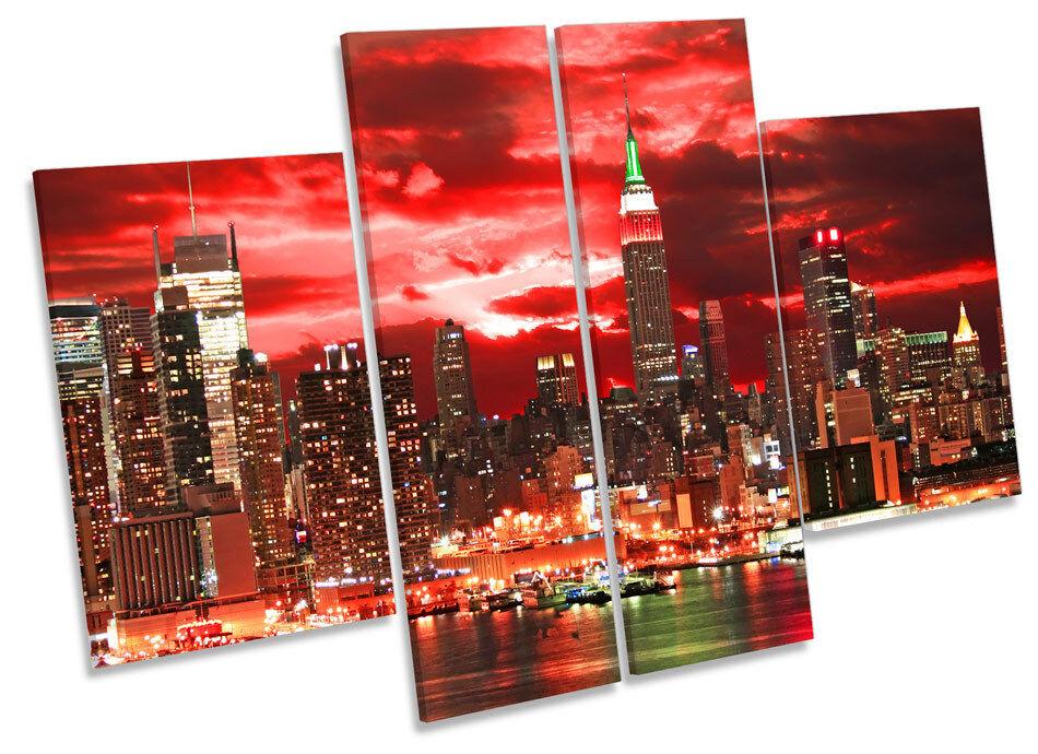 New York Stadt rot Sunset CANVAS Wand Kunst MULTI Panel Drucken Box Frame