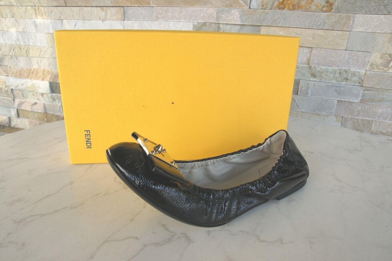 Luxus FENDI Gr 39 Lack Slipper Ballerinas Schuhe Schuhe Schuhe schwarz schwarz NEU 947efa