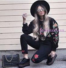Zara Embroidered Sweater Medium M 10 New Black BNWT Bloggers Fave Jumper Floral