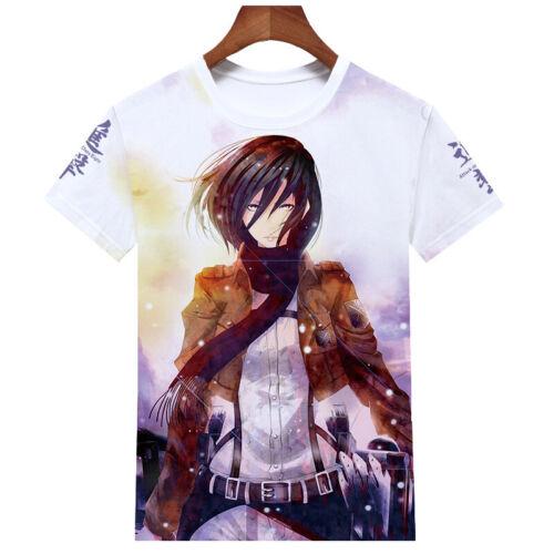 Attack on Titan 3D T-Shirt Cosplay Mikasa·Ackerman Casual Sports Tee Top