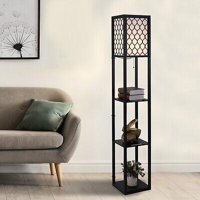 Modern Shelf Floor Lamp Light Tier Open Shelves Wooden Ebay