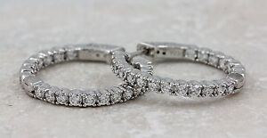 925-Sterling-Silver-Cubic-Zirconia-Hoop-Earrings-6-34g-NEW-00003988