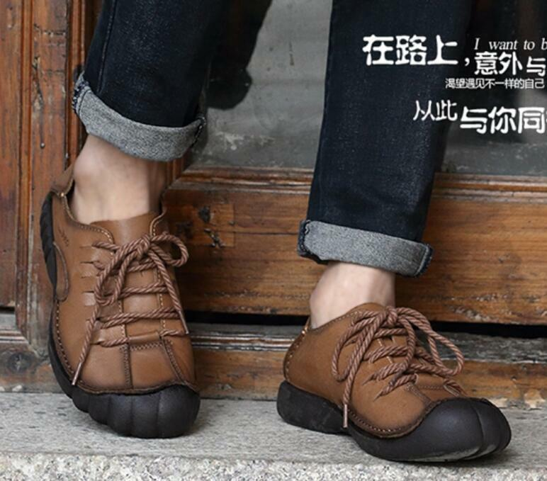 Mens Flats Lace Up Casual shoes Athletic Leather Climbing Sneakers Leisure Outdo